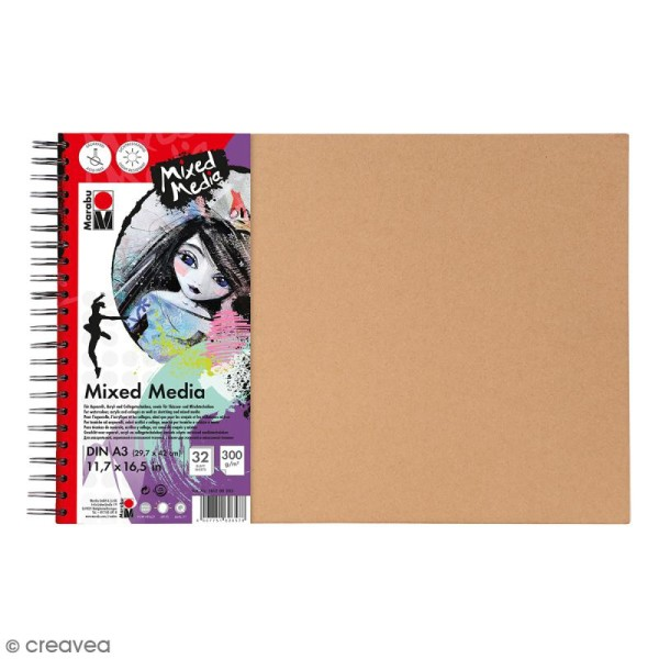 Carnet créatif - Art Journal - Mixed Media - A3 - 32 pages - Photo n°1