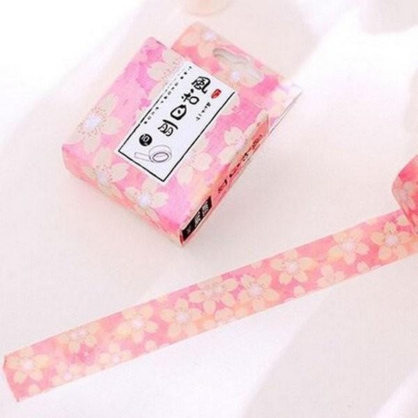 Washi Tape ruban adhésif scrapbooking décoration 1,5 x 9,5 m FLEUR BEIGE FOND ROSE - Photo n°1