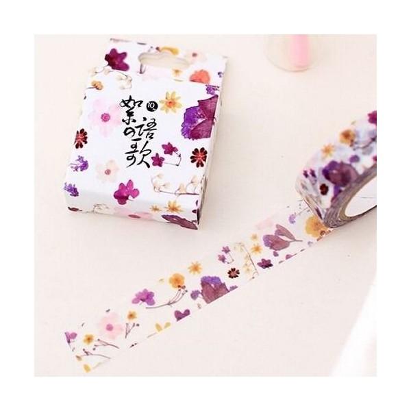 Washi Tape ruban adhésif scrapbooking décoration 1,5 x 9,5 m FLEUR MAUVE - Photo n°1
