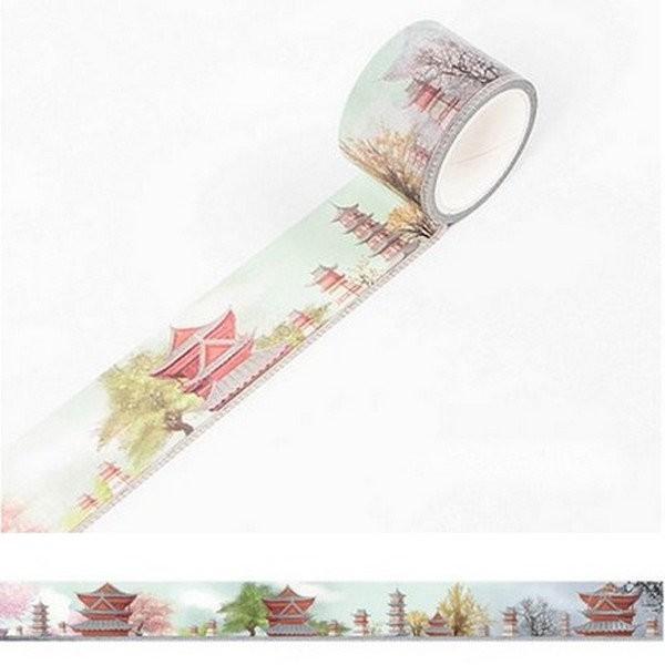 Washi Tape ruban adhésif scrapbooking décoration 3 cm x 4,5 m TEMPLE - Photo n°1