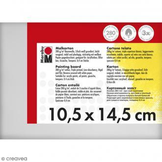 Carton entoilé en coton blanc - 10,5 x 14,5 cm