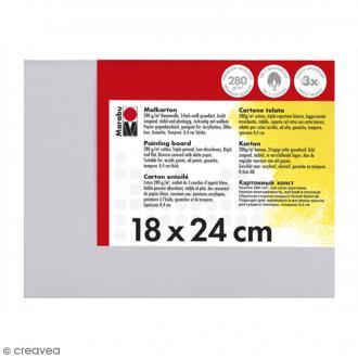 Carton entoilé en coton blanc - 18 x 24 cm