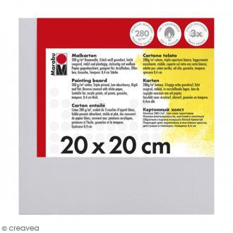 Carton entoilé en coton blanc - 20 x 20 cm