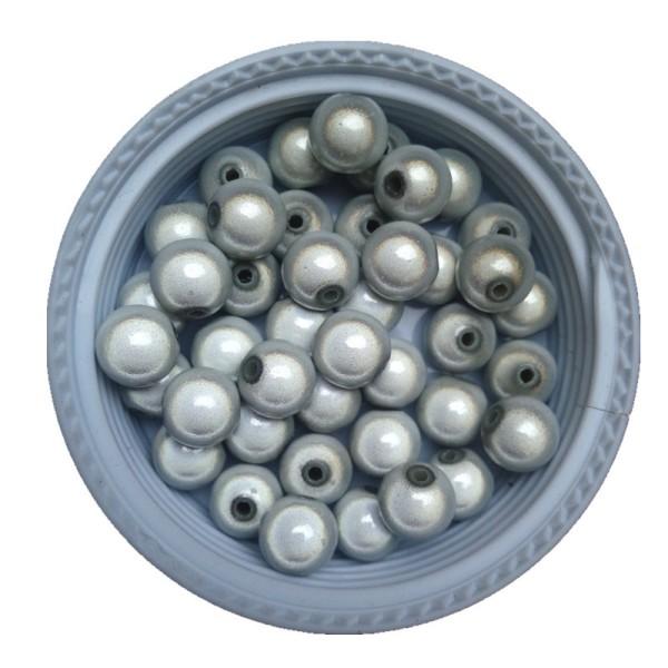 20 Perles 8mm Blanc Miracle Magique Effet Oeil De Poisson Creation Bijoux - Photo n°2