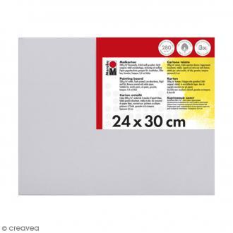Carton entoilé en coton blanc - 24 x 30 cm
