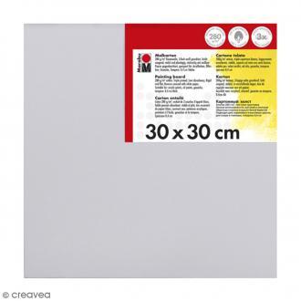 Carton entoilé en coton blanc - 30 x 30 cm
