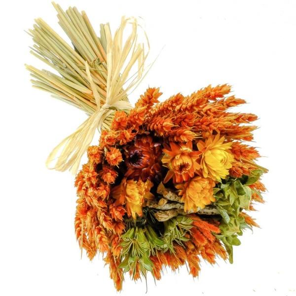 Bouquet de fleurs séchées composé orange - 30 cm - Photo n°3