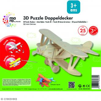 Puzzle 3D en bois à monter - Avion - 25 pcs