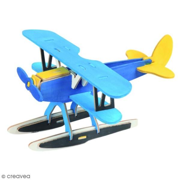 Puzzle 3D en bois à monter - Hydravion - 28 pcs - Photo n°3