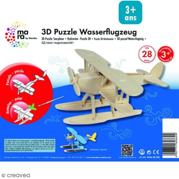 Puzzle 3D en bois à monter - Hydravion - 28 pcs - Photo n°1