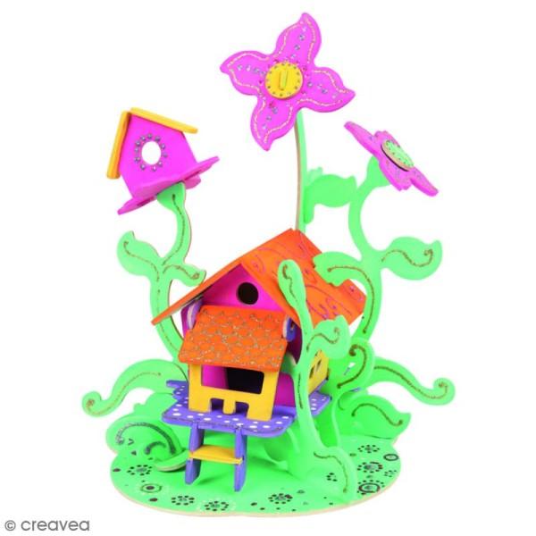 Puzzle 3D en bois à monter - Maison de fée - 43 pcs - Photo n°3