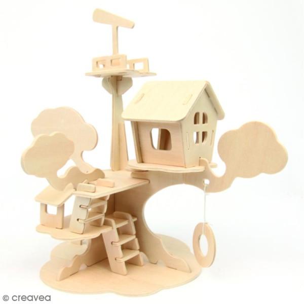 Puzzle 3D en bois à monter - Maison d'arbre - 37 pcs - Photo n°2