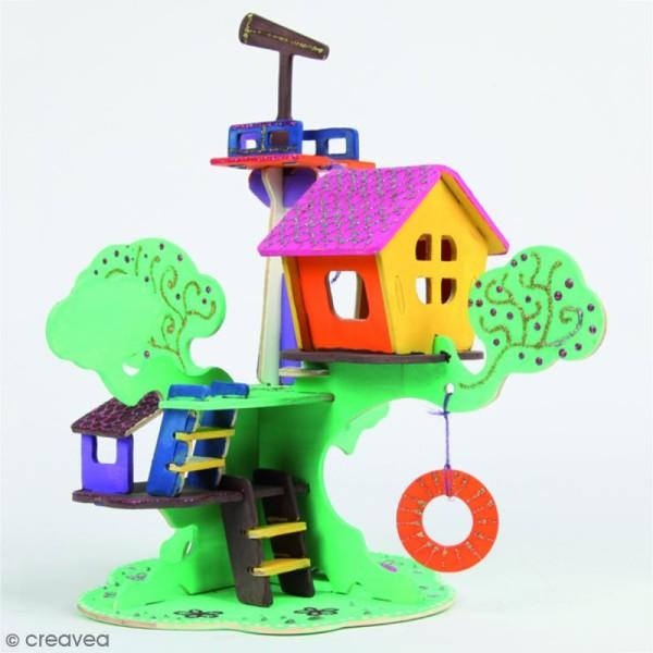 Puzzle 3D en bois à monter - Maison d'arbre - 37 pcs - Photo n°3