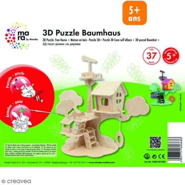 Puzzle 3D en bois à monter - Maison d'arbre - 37 pcs - Photo n°1
