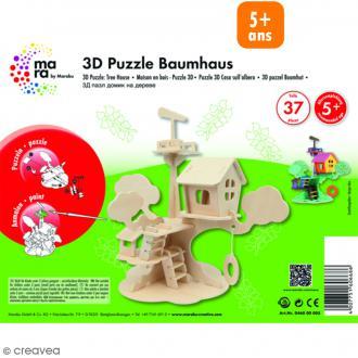 Puzzle 3D en bois à monter - Maison d'arbre - 37 pcs