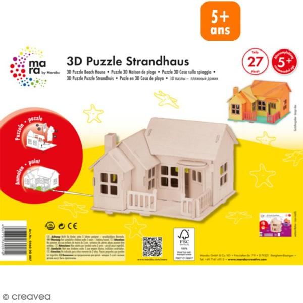 Puzzle 3D en bois à monter - Maison de plage - 27 pcs - Photo n°1