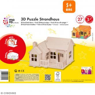 Puzzle 3D en bois à monter - Maison de plage - 27 pcs