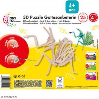 Puzzle 3D en bois à monter - Mante religieuse - 25 pcs