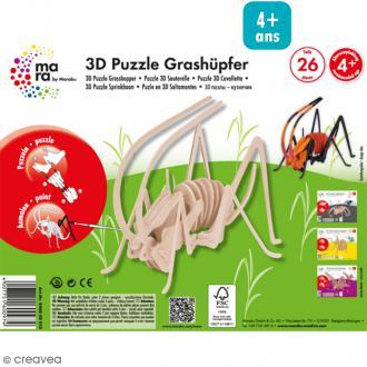 Puzzle 3D en bois à monter - Sauterelle - 26 pcs