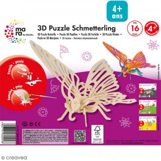 Puzzle 3D en bois à monter - Papillon - 16 pcs