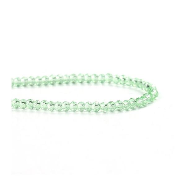 190 Perles en Verre vert Clair A Facettes, 3mm - Photo n°1