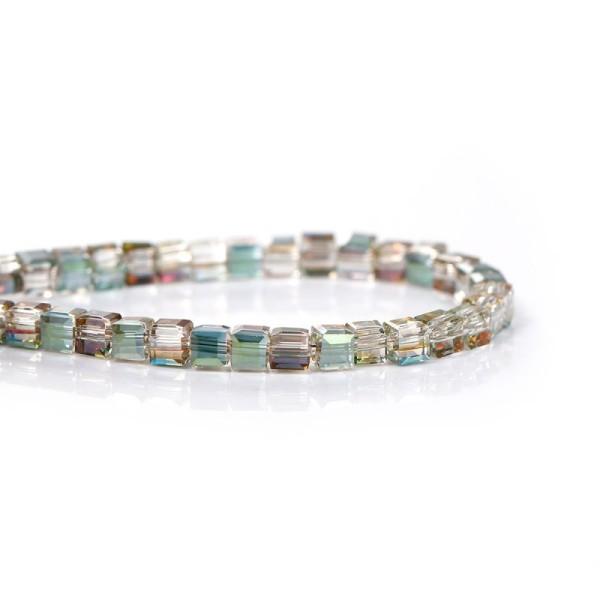 100 Perles en Verre Carré Vert à Facettes Vert & Transparent 3mm x 3mm - Photo n°1