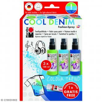 Kit peinture textile Fashion spray - Assortiment Blue Denim - 3 x 100 ml