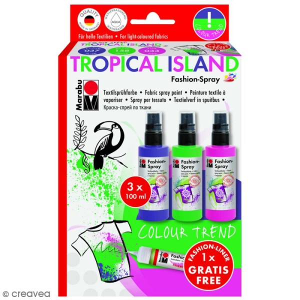 Kit peinture textile Fashion spray - Assortiment Tropical Island - 3 x 100 ml - Photo n°1