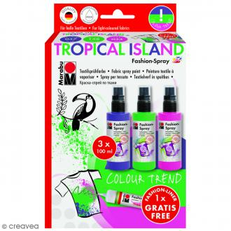 Kit peinture textile Fashion spray - Assortiment Tropical Island - 3 x 100 ml