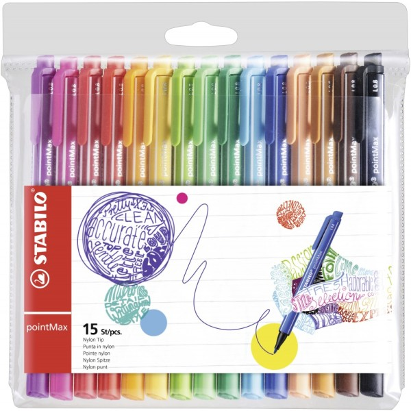 Pochette de 15 stylo-feutre pointe moyenne pointMax Stabilo - Photo n°1