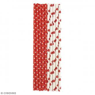 Pailles en papier - Rouge et blanc - 25 pcs
