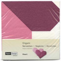 Serviettes Origami Coeur à plier - Rose et bordeaux - 12 pcs