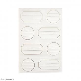 Mini étiquettes à lignes - Gris et blanc - 32 pcs