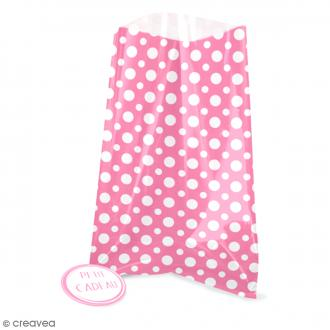 Sachets transparents avec étiquettes - Rose - Pois blanc - 12 pcs