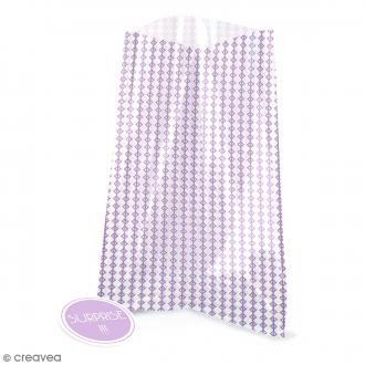 Sachets transparents avec étiquettes - Violet - Losange - 12 pcs