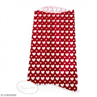 Sachets transparents avec étiquettes - Rouge - coeurs blanc - 12 pcs