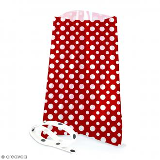 Sachets avec rubans - Rouge - Pois blanc - 12 pcs