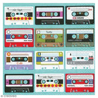 Serviette en papier - Vintage Cassettes