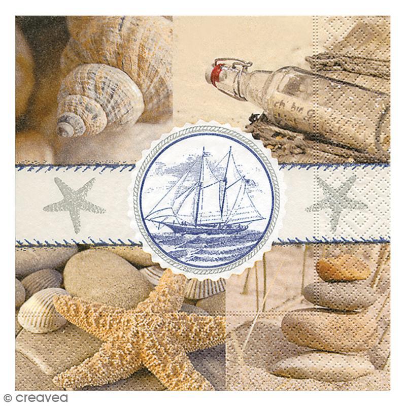 Serviette en papier - Mer sable - Photo n°1