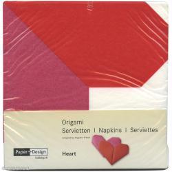 Serviettes Origami Coeur à plier - Rose et rouge - 12 pcs