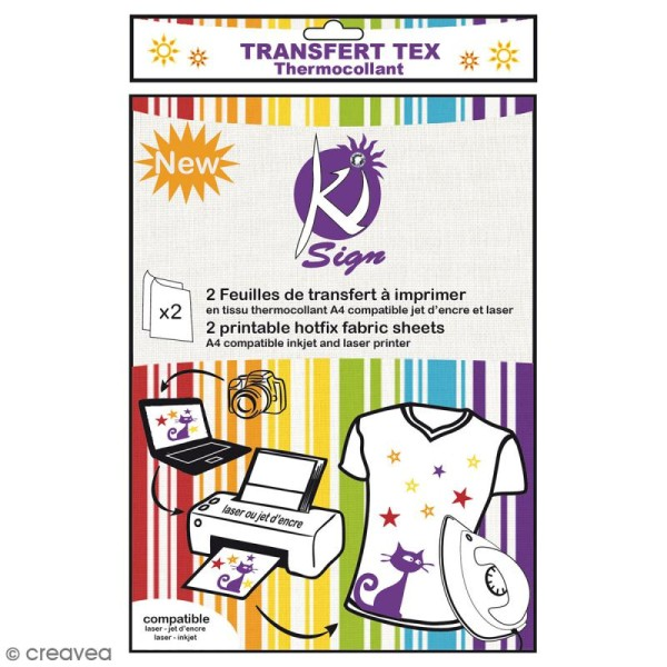 Papier transfert textile pour impression - A4 - 2 pcs - Photo n°1