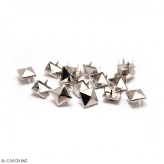 Clous à griffes - Carrés - Argenté - 10 x 10 mm - 30 pcs