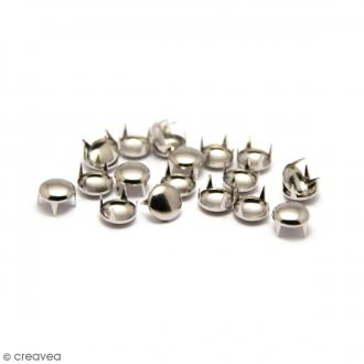 Clous à griffes - Ronds - Argenté - 6 x 6 mm - 60 pcs