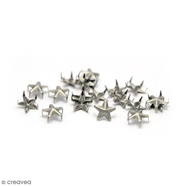 Clous à griffes - Etoiles - Argenté - 7 mm - 40 pcs - Photo n°1
