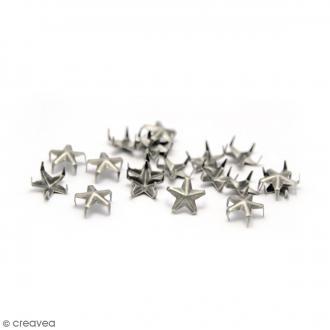 Clous à griffes - Etoiles - Argenté - 7 mm - 40 pcs