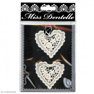 Motif thermocollant dentelle - Coeur - 4,5 cm - 2 pcs