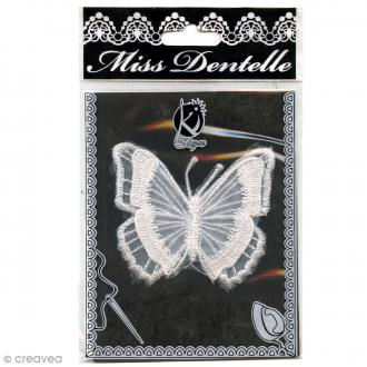 Motif thermocollant dentelle - Papillon - 7,5 x 8 cm