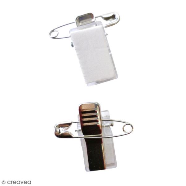 Épingle broche à clip adhésif - 2,8 cm - 10 pcs - Photo n°1