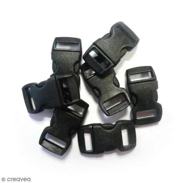 Fermoirs à clip plastique - Noir - 1,5 x 3 cm - 100 pcs - Photo n°1