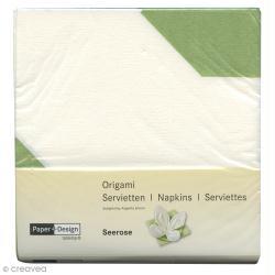 Serviettes Origami Lotus à plier - Blanc et vert - 12 pcs